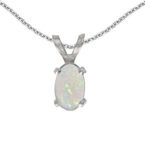 14k White Gold Oval Opal Pendant with 18