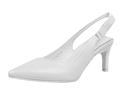 SHU CRAZY Womens Ladies Mid Kitten Heel Slip On Slingback Pointed Toe Party Evening Dressy Fashion Court Shoes - L87 White Faux Leather L57QgPG