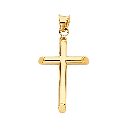 14K Yellow Gold Cross Pendant - Classic Holy Cross Charm - Gold Stamped Religious Based Fine Jewelry - Great Choice for Women, Men, Teens, and Children Occasions, 28mm X 18mm