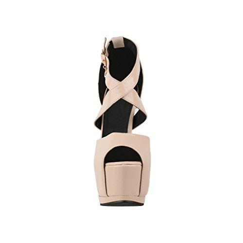 Elara Damen Pumps | Moderne Cut Out Stilettos | Peep-Toe High Heels | Chunkyrayan Nude Paris