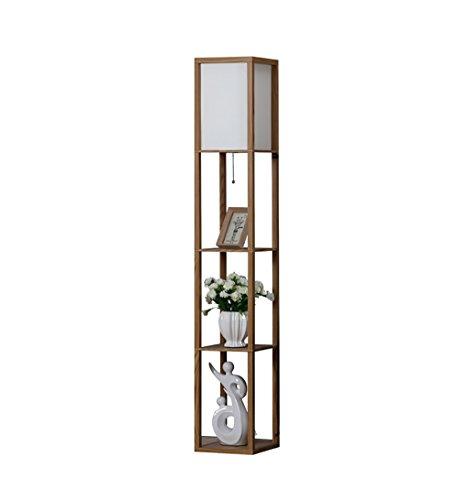 Lampadaires Lampadaire, salon, rétro table de chevet en bois, lampadaire Creative chambre à coucher, 3 étages en bois lit, lampadaire taille: 26 * 26 * 159cm lampe sur pied