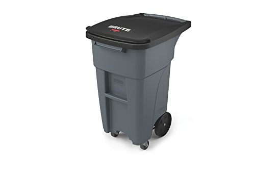 "Rubbermaid Commercial 1971947 Brute Rollout Trash Can with Casters, 32 gal/120 L, 37.160"" Height, 20.620"" Width, Gray"