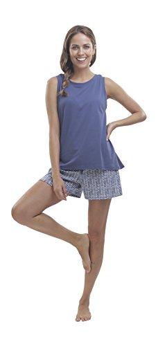 jijamas Incredibly Soft Pima Cotton Women's Pajamas Set, Shorts - 'The Long Weekend' Indigo Blue ()