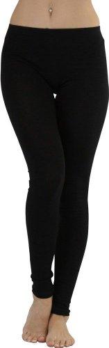 ToBeInStyle Women's Full Length Cotton Leggings - Black - 3X