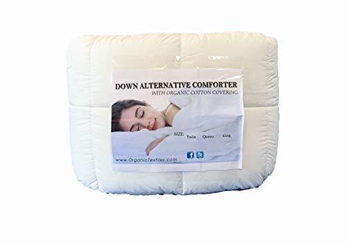 (OrganicTextiles White Down Alternative Comforter, Queen Size, with Organic Cotton Covering - Duvet Insert - Hypoallergenic Bedding - Healthiest Non Toxic Sleeping Choice - Washable - All Seasons Use )