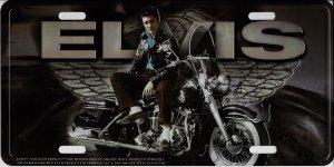 Elvis On Motorcycle With Wings Metal License Plate ()