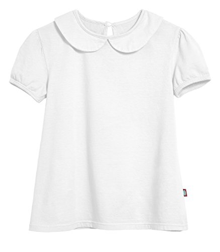 City Threads Little Girls' Peter Pan Collar A-Line Puff Tee Tshirt Blouse, White, 6 (Girls Peter Pan Collar Blouse)