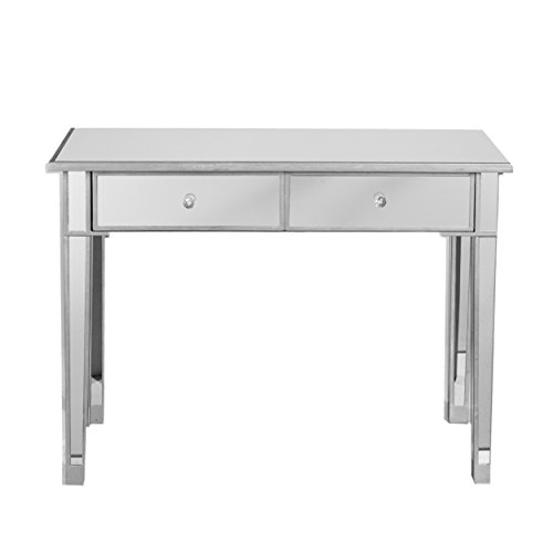 Southern Enterprises Mirage Mirrored 2 Drawer Media Console Table, Matte Silver Finish with Faux Crystal - Finish Mirage
