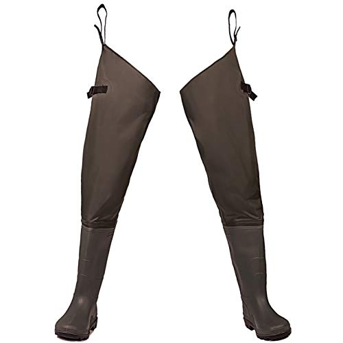 Toandon Fishing Hip Wader Waterproof Lightweight Waders Hip Boots with Cleated Outsole for Man Women