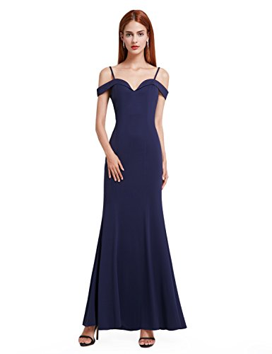 Ever-Pretty Womens Long Off Shoulder Prom Dress 12 US Navy Blue