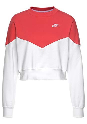 T White Flc W Nsw Long Mujer shirt Sleeved white Hrtg Crew Nike Glow ember n0vxxH