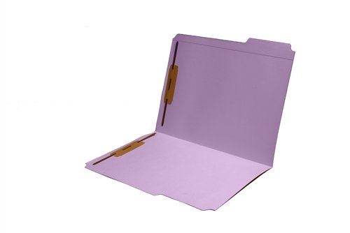 Colored Folders, 2 Top Fasteners, Letter, Top Tab, 10 Colors, Lavender, Box of 50