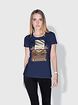 Creo Typewritter Retro T-Shirts For Women - M, Blue