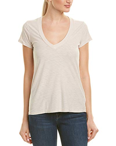 - James Perse Women's Relaxed Casual V-Neck Short Sleeve Shirt (Bergamont, 4)