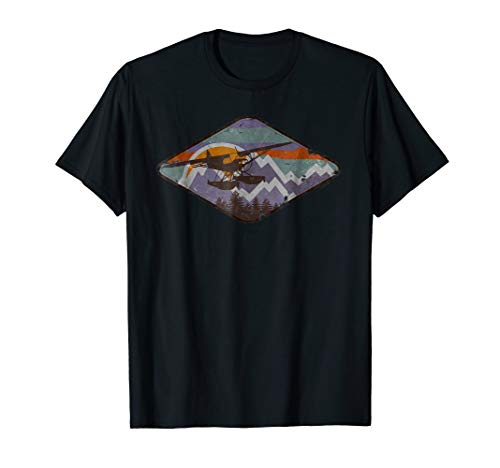 - Super Cub on Float Vintage Mountain Sunset Flying Pilot Tee