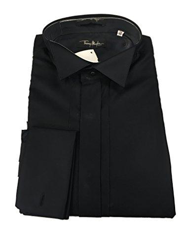 Thierry Mugler Paris Men's Designer Cotton Casual Button Down Suit Shirt (15.5 Neck/ 39-EU Slim Fit Medium, Black) -