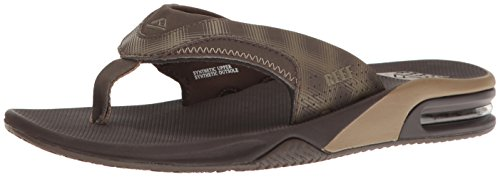 Reef Men's Fanning Prints Sandal, Brown/Brown Plaid, 11 M - Brown Prints