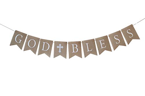 Large GRAY/SILVER Communion Party Banner, Baptism Decoration. God Bless Banner -