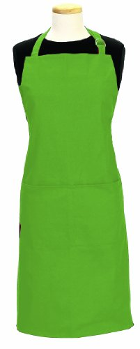 Ritz Royale 100% Cotton Twill Two-Pocket Bib Apron with Adjustable Neck and Waist, Cactus Green -