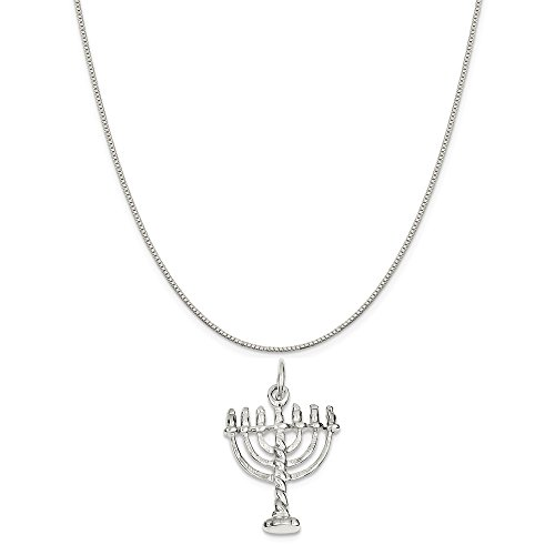Sterling Silver Menorah Charm on a Sterling Silver Box Chain Necklace, 16