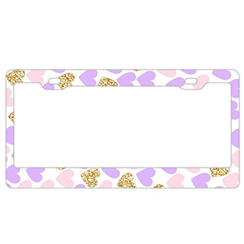 YEX Abstract Purple Pink Gold License Plate Frame Novelty Car Tag Frame Auto License Plate Holder