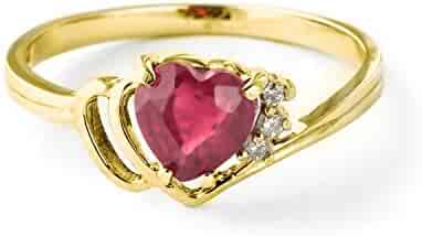 Galaxy Gold 1.02 Carat 18K Solid Yellow Gold Heart Shaped Natural Ruby & Diamond Ring