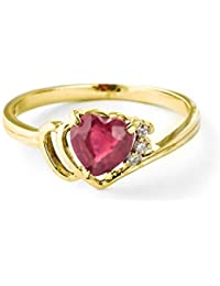 1.02 Carat 18K Solid Yellow Gold Heart Shaped Natural Ruby & Diamond Ring