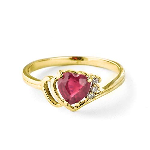 Galaxy Gold 18K Solid Yellow Gold Angel's Heart - Heart Shaped 1.02 Carat Natural Ruby & Diamond Ring (9.5) ()