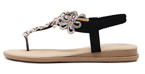 Fortuning's JDS Sandalia plana de la correa de la T-Correa de la flor del grano del Diamante de imitaciónde la manera para las señoras Negro