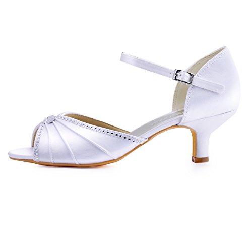 ElegantPark HP1623 Women's Sandals Peep Toe Mid Heel Pumps Pleated Rhinestones Satin Evening Wedding Party Shoes Photo #2