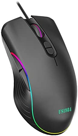 US1984 Wired USB Gaming Mouse, 6400 DPI Optical Sensor, Ergonomic USB Mice, RGB Lighting, 7 Buttons, Lightweight & Durable Mouse for Laptop PC Gamer Computer Desktop (Black Gaming Mouse)
