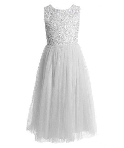 lace a line flower girl dress - 3