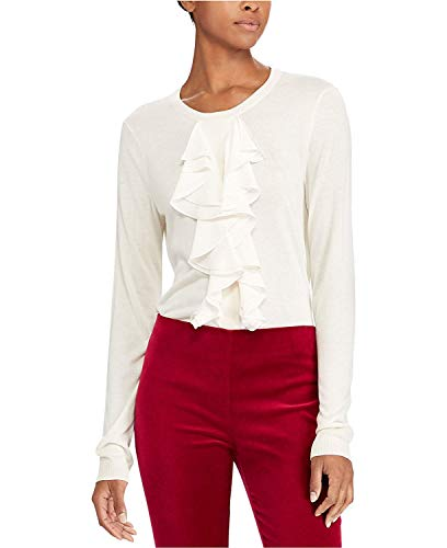 Lauren Ralph Lauren Women's Petite Ruffled Georgette Sweater Natural ()