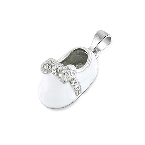 Sterling Silver White Enamel CZ Bow Baby Shoe Pendant