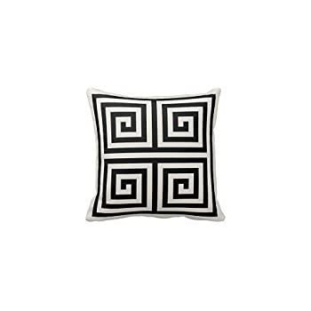 chic black and white greek key geometric patterns pillow cover for living room sofa