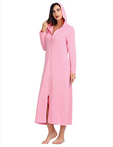 Robes for Women Zipper Front Hoodie Long Bathrobe with Pocket Loungewear Pink XL