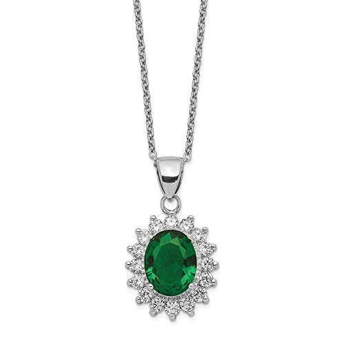 Jewelry Necklaces CZ Cheryl M Sterling Silver Brilliant-cut CZ and Green Glass ()