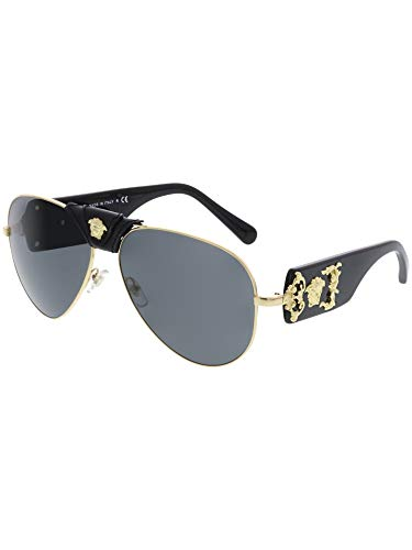 30a949bb2902d Versace VE2150Q - 100287 Gold Black Aviator Sunglasses 62mm