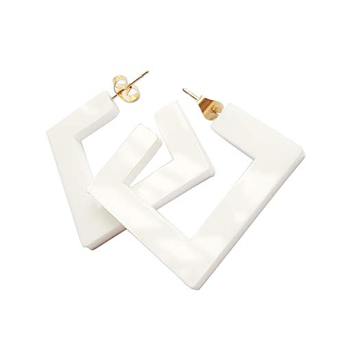 (New Arrival Creative Transparent Acrylic Material Exaggerated Square Shape Candy Colors Women/Girl's Charm Earrings Ear Studs(5cm) (White(5cm)))