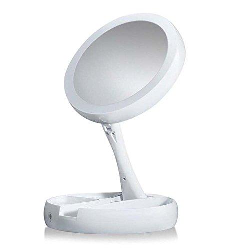 QJHP LED Plegables Doble Cara Espejo Maquillaje 10X Portátil Lupa Iluminada Dos Tipos De Fuente De Alimentación USB Carga...