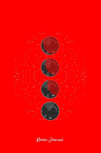 Moon Journal: Lined Journal - Moon Phases Retro  Lunar Stages Galaxy Space Lover Gift - Red Ruled Diary, Prayer, Gratitude, Writing, Travel, Notebook For Men Women - 6x9 120 ()