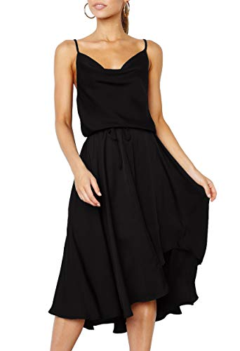 Merryfun Women's Satin Slip Camisole Dress with Adjustable Spaghetti Straps Elastic Wrist Dresses,Black 2XL -