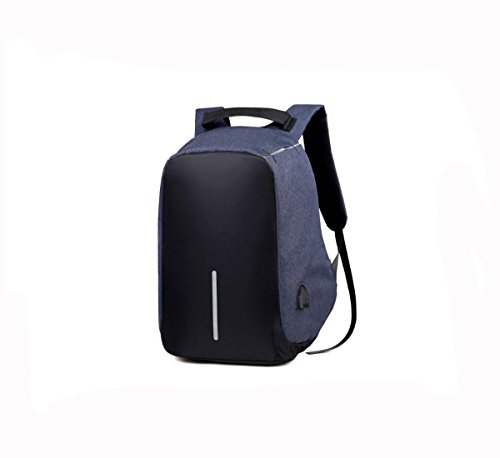 Wj Intelligent Usb Charging Backpack Large Capacity Multi-function Travel Portable Water Proof Bag Business Men's Backpack, Blue
