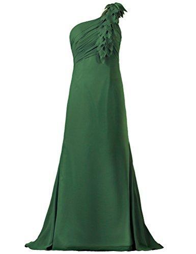 Women's Gown One Hunter Green Long Dress Flower Bridesmaid Shoulder ANTS ZRWqSnff