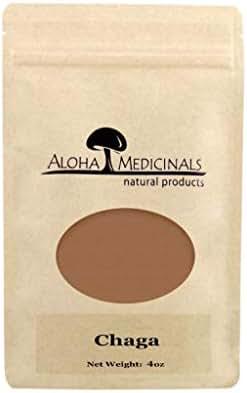 Aloha Medicinals- Pure Chaga - Inonotus Obliquus - Organic and Wild Crafted Mushrooms – Immune System Support – Detoxifying, Anti-Inflammatory – Blood Sugar, Cholesterol Control - 4oz Bag (Powder)