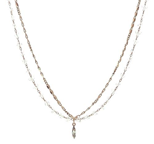 Catherine Popesco Shade Marquise with Clear Triangle Beaded Swarovski Crystal Goldtone Layered Necklace