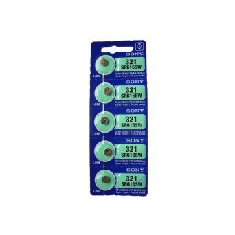 Sony Silver Oxide 0%Hg Mercury Free 1.55 volts Batteries Size 321 SR616SW (Pack of 5)