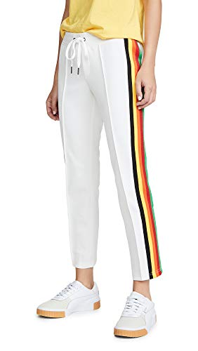 Pam & Gela Women's Cropped Track Pants, Off White, Small