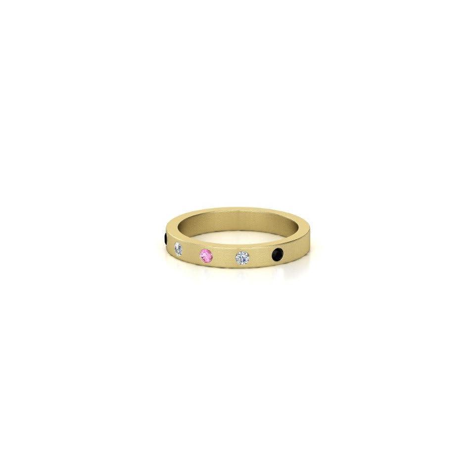 Anahit Band Round Pink Sapphire 14K Yellow Gold Ring with Diamond & Black Onyx Jewelry