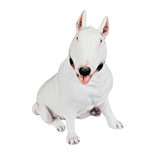 "Bull Terrier Figurine - Bull Terrier Hand Painted Solid Statue 5.6"" White"